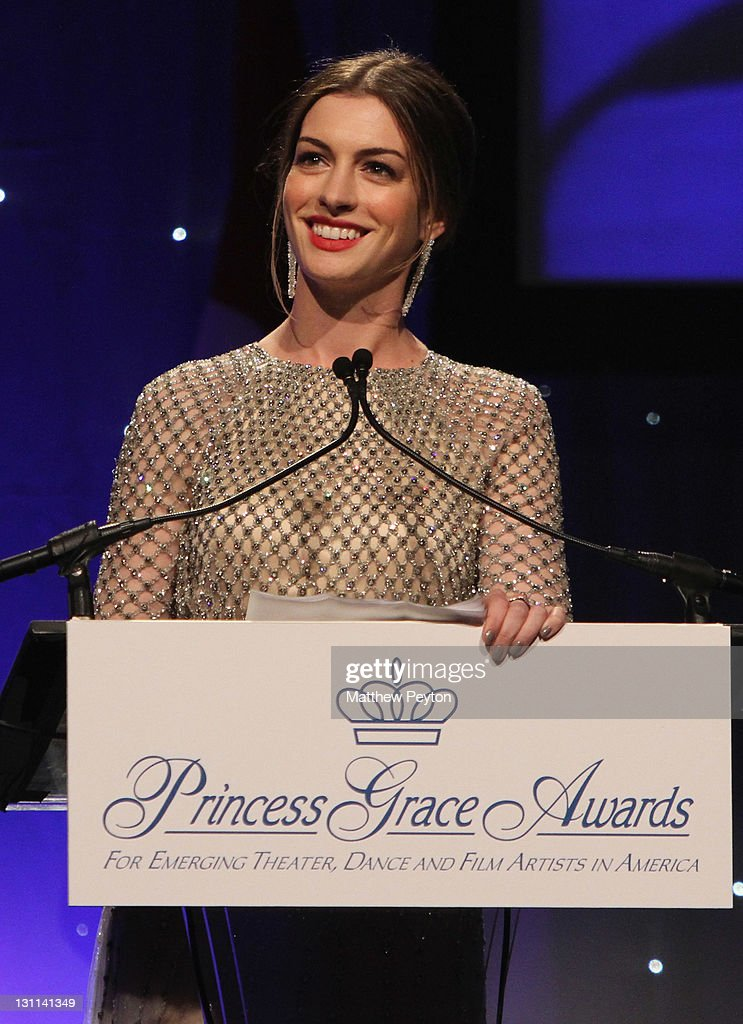 Anne Hathaway speaks at the Princess Grace Awards Gala at Cipriani 42nd Street on November 1, 2011 in New York City.