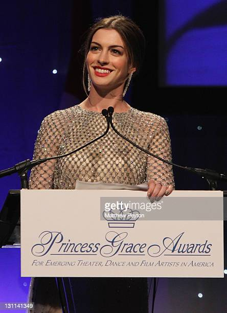 Anne Hathaway speaks at the Princess Grace Awards Gala at Cipriani 42nd Street on November 1 2011 in New York City