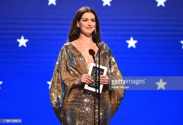 Anne Hathaway speaks onstage at the 25th Annual Critics' Choice Awards at Barker Hangar on January 12, 2020 in Santa Monica, California.