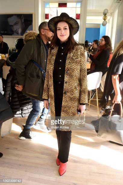 Anne Hathaway stops by WarnerMedia Lodge: Elevating Storytelling with AT&T during Sundance Film Festival 2020 on January 27, 2020 in Park City, Utah.