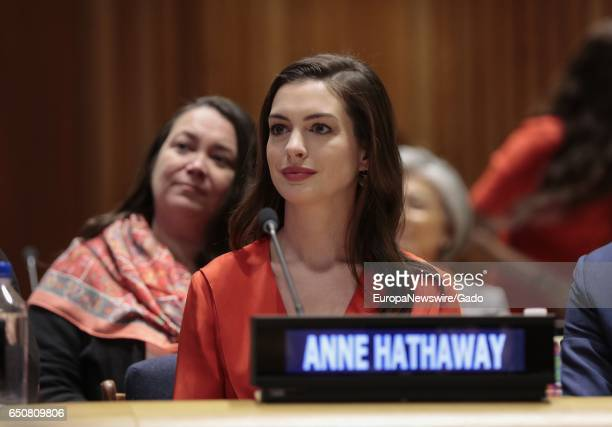 Anne Hathaway UN Women Global Goodwill Ambassador during the Observance of International Women's Day at UN headquarters in New York under the theme...