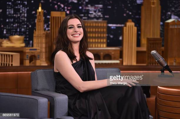Anne Hathaway Visits 'The Tonight Show Starring Jimmy Fallon' at Rockefeller Center on April 17 2017 in New York City