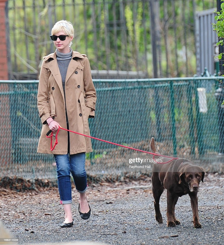 Anne Hathaway walks her dog in Brooklyn on May 8, 2013 in New York City.