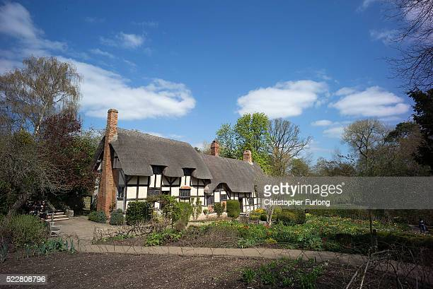 Anne Hathaway's Cottage is bathed in Spring sunshine on April 19 2016 in StratforduponAvon England 2016 will see the 400th anniversary of William...