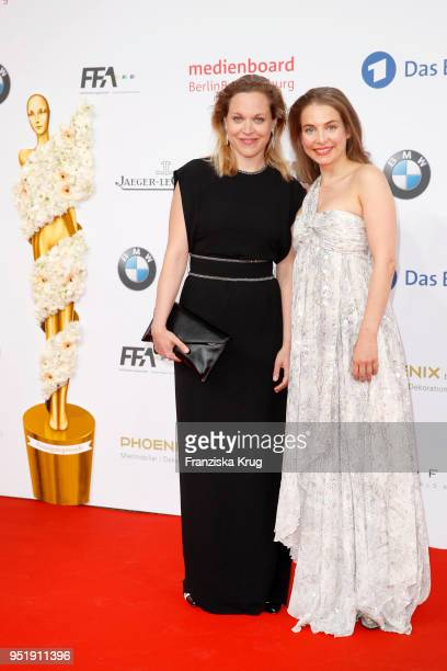 Anne Haug and Sina Martens attend the Lola German Film Award red carpet at Messe Berlin on April 27 2018 in Berlin Germany