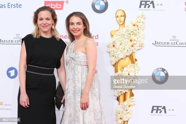 Anne Haug and Sina Martens during the Lola German Film Award red carpet at Messe Berlin on April 27 2018 in Berlin Germany