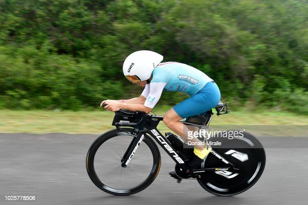 Anne Haug from Germany bikes en route to her 3rd place finish during the Isuzu IRONMAN 703 World Championship Women in Port Elizabeth South Africa on...