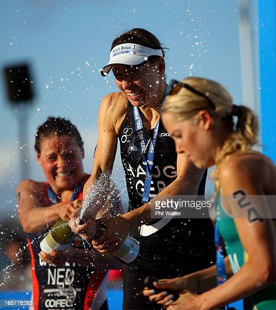 Anne Haug of Germany celebrates her win following the Barfoot Thompson ITU World Triathlon Women's Race on April 6 2013 in Auckland New Zealand
