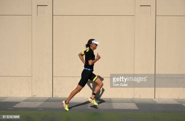 Anne Haug of Germany competers in the run section during the Ironman 703 Dubai 2018 on February 2 2018 in Dubai United Arab Emirates
