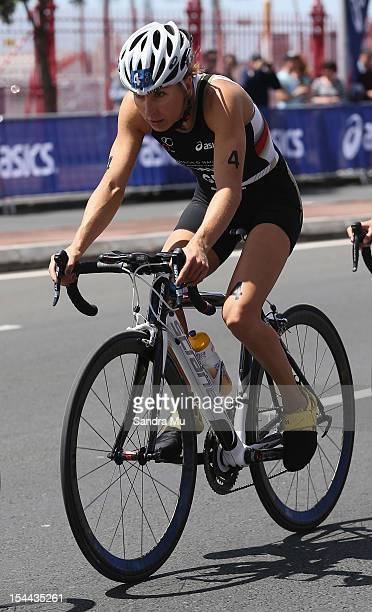 Anne Haug of Germany competes during the 2012 ITU Elite Women's World triathlon Grand Final on October 20 2012 in Auckland New Zealand