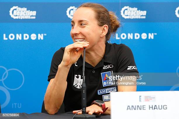 Anne Haug of Germany gives a media interview prior to the Elite Women's race at the PRUHealth World Triathlon Grand Final London London 12 September...