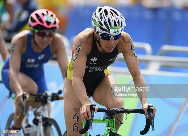 Anne Haug of Germany rides during the Women's Triathlon on Day 15 of the Rio 2016 Olympic Games at Fort Copacabana on August 20 2016 in Rio de...