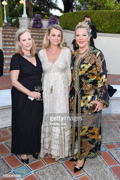Anne Hearst McInerney Debbie Bancroft and Suzanne Tucker attend Hearst Castle Preservation Foundation Hollywood Royalty Dinner at Hearst Castle on...