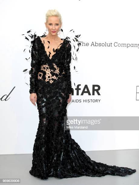 Anne Heche arrives at the amfAR Gala Cannes 2018 at Hotel du Cap-Eden-Roc on May 17, 2018 in Cap d'Antibes, France.