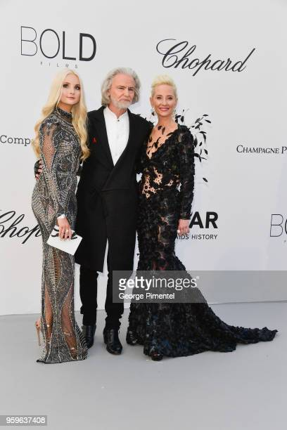 Anne Heche, Hermann Buehlbecker and Anna Hiltroparrives at the amfAR Gala Cannes 2018 at Hotel du Cap-Eden-Roc on May 17, 2018 in Cap d'Antibes,...