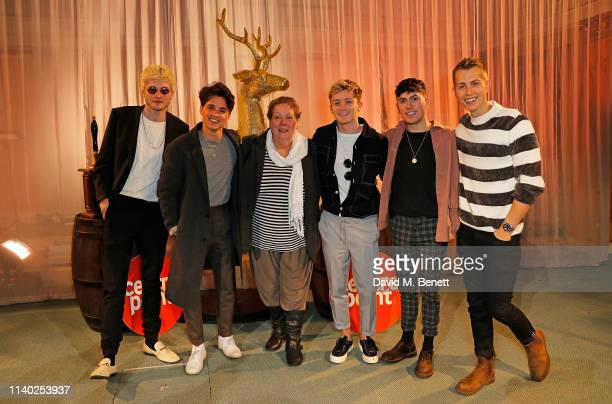 Anne Hegerty and The Vamps attend Centrepoint's annual Ultimate Pub Quiz at St Mary's Church on April 03 2019 in London England
