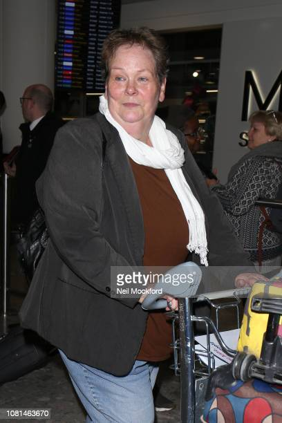 Anne Hegerty seen at Heathrow Airport after returning from 'I'm a Celeb Get me out of here' on December 12 2018 in London England
