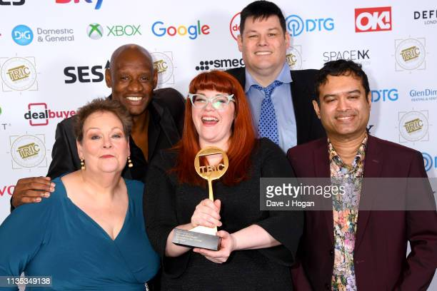 Anne Hegerty Shaun Wallace Jenny Ryan Mark Labbett and Paul Sinha pose with the award for Daytime Programme during the 2019 'TRIC Awards' held at The...