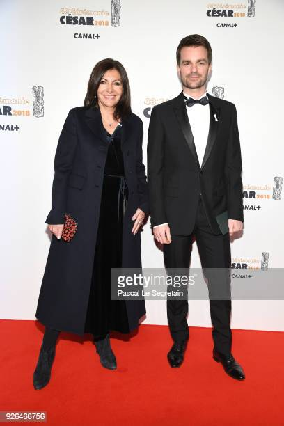 Anne Hidalgo and Bruno Julliard arrive at the Cesar Film Awards 2018 at Salle Pleyel on March 2, 2018 in Paris, France.