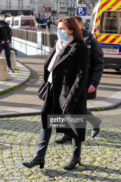 Anne Hidalgo attends the funeral of Marielle De Sarnez at Eglise Saint Sulpice on January 18, 2021 in Paris, France.