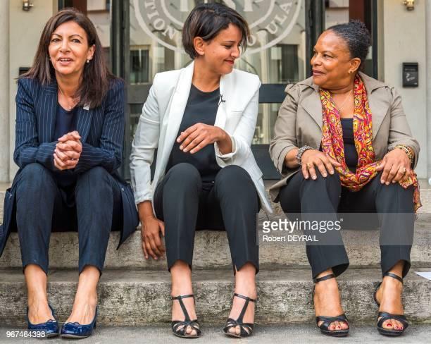 Anne Hidalgo et Christiane Taubira sont venues soutenir Najat VallaudBelkacem avant le deuxième tour des élections législatives de la 6ème...