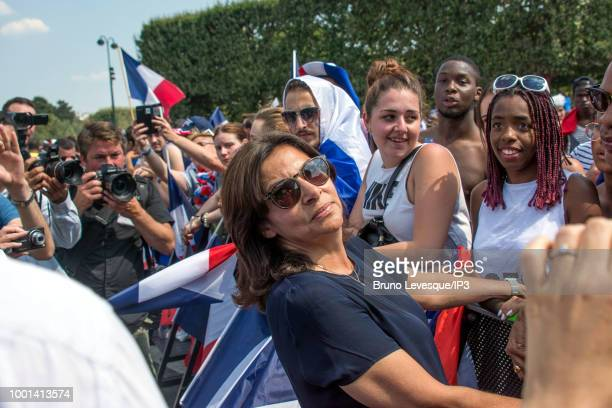 Anne Hidalgo mayor of Paris and French supporters at the Champs de Mars for watching the final of the 2018 Football World Cup between France and...