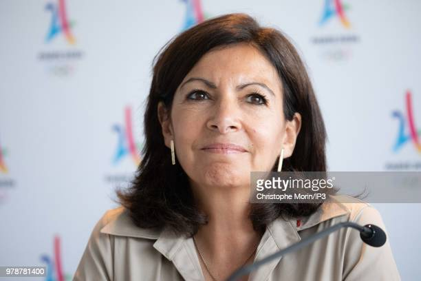Anne Hidalgo Mayor of Paris attends the signature of the Social Charter of the Olympic Games of 2024 during a press conference on the occasion of the...