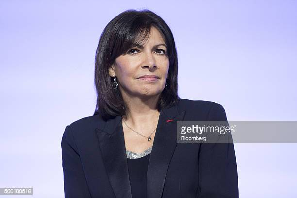 Anne Hidalgo mayor of Paris listens during the action day at the United Nations COP21 climate summit at Le Bourget in Paris France on Saturday Dec 5...