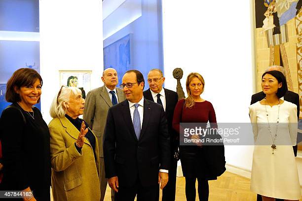 Anne Hidalgo Mayor of Paris Maya Widmaier Picasso daughter of Pablo Picasso Claude Goasguen French President Francois Hollande and Diana Widmaier...