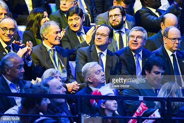 Anne Hidalgo mayor of Paris Patrick Kanner minister of Sport President of the French handball federation Joel Delplanque President of the...