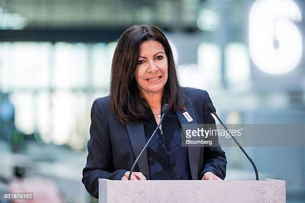 Anne Hidalgo mayor of Paris speaks during a news conference at Station F a megacampus for startups located inside a former freight railway depot in...