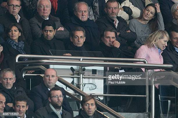 Anne Hidalgo Nasser AlKhelaifi Nicolas Sarkozy Vincent Labrune and Margarita LouisDreyfus attend the Paris Saint Germain vs Olympique de Marseille...