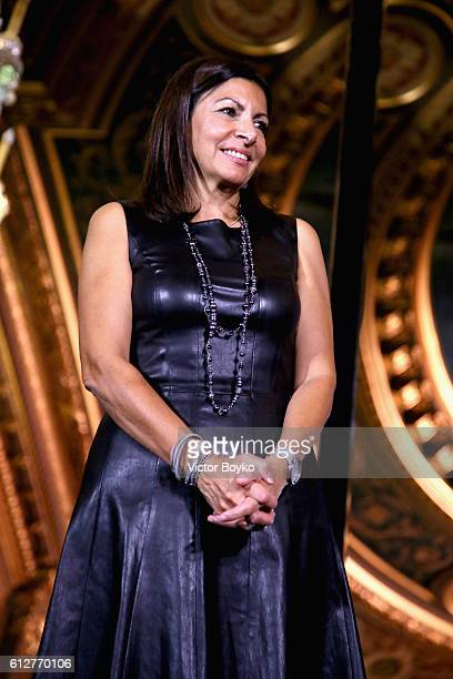 Anne Hidalgo on stage at the #BoF500 Cocktail Event as part of the Paris Fashion Week Womenswear Spring/Summer 2017 at Hotel de Ville on October 4...