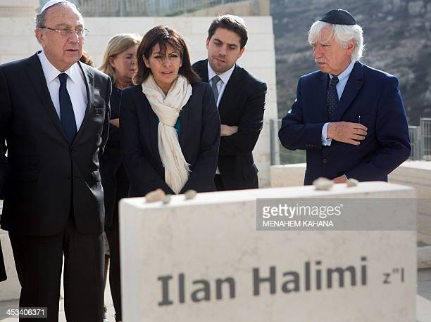 Anne Hidalgo Paris deputy mayor and Socialist Party candidate for the primary round of Paris municipal elections visits the grave of Ilan Halimi at...