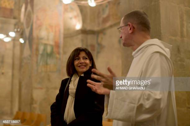 Anne Hidalgo Paris deputy mayor and Socialist Party candidate for the primary round of Paris municipal elections visits the Benedictine Abbey of Abu...