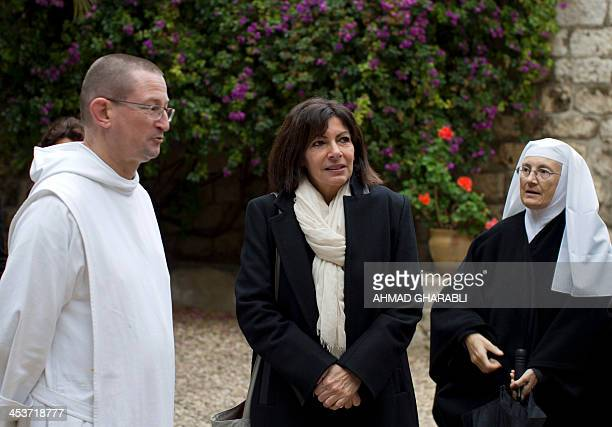 Anne Hidalgo Paris deputy mayor and Socialist Party candidate for the primary round of Paris municipal elections visits the garden of the Benedictine...