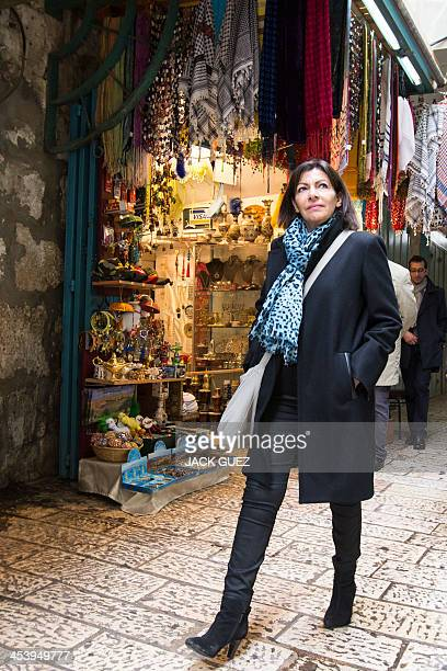 Anne Hidalgo Paris deputy mayor and Socialist Party candidate for the primary round of Paris municipal elections visits the Jerusalem's Old City Souk...