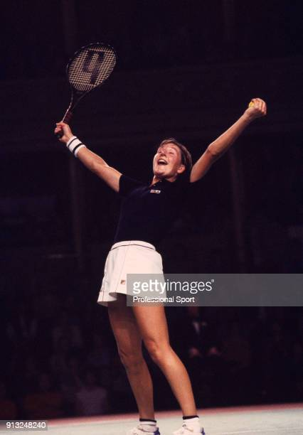 Anne Hobbs of Great Britain celebrates after defeating Zina Garrison and Lori McNeil of the USA in the final doubles match with her partner Jo Durie...