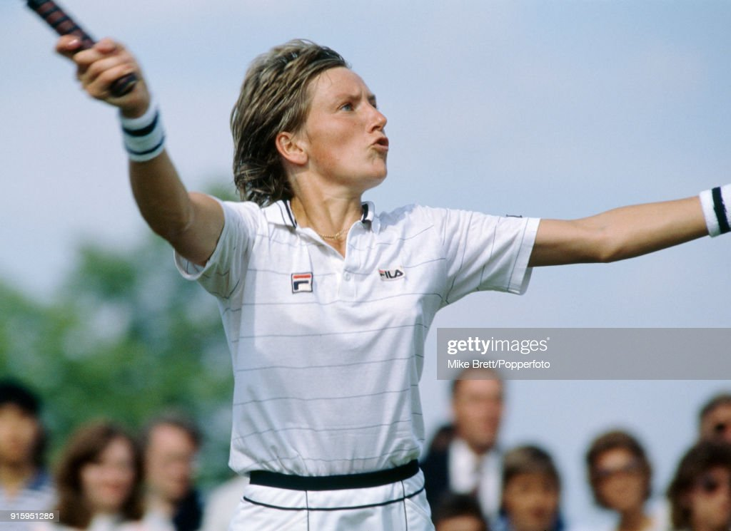 Anne Hobbs of Great Britain in action at Wimbledon, circa July 1984. Hobbs lost in three sets in the fourth round to Manuela Maleeva of Bulgaria.