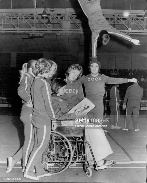 Anne Hogan in wheelchair is pictured in the Hordern Pavilion with Russian gymnasts Vere Zelepukina Tanya Burlakova Tamara Duprovina and Ludmila...
