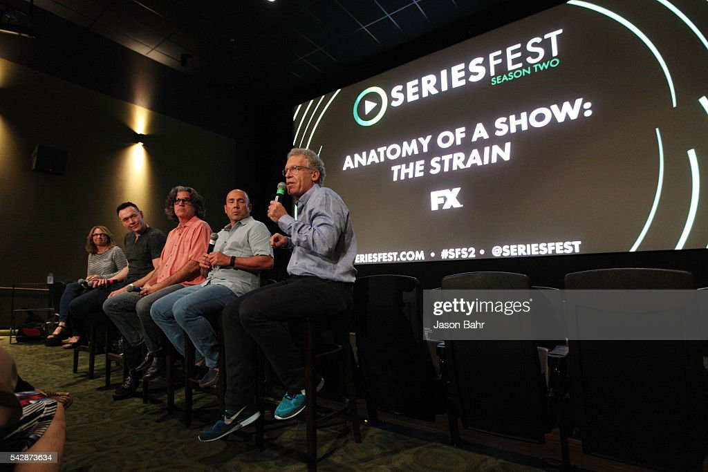Anne Hubbell, Kevin Durand, Ra'uf Glasgow, J. Miles Dale, and Carlton Cuse speak on FX's 'The Strain' panel at SeriesFest: Season Two at Sie FilmCenter on June 24, 2016 in Denver, Colorado.