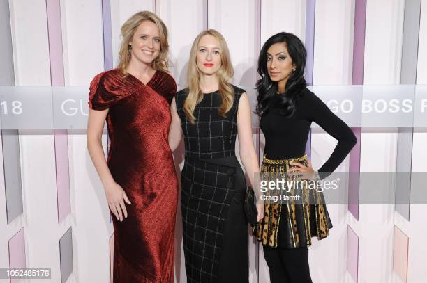 Anne Huntington Katherine Brinson and Noreen Ahmad attend the Hugo Boss Prize 2018 Artists Dinner at the Guggenheim Museum on October 18 2018 in New...