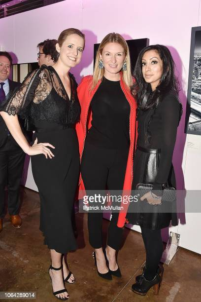 Anne Huntington Sarah Arison and Noreen Ahmad attend 2018 Aperture Gala at Cedar Lake on October 30 2018 in New York City