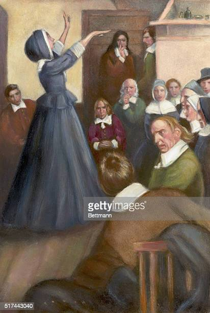 Anne Hutchinson preaching in her house in Boston From a painting by Howard Pyle Undated