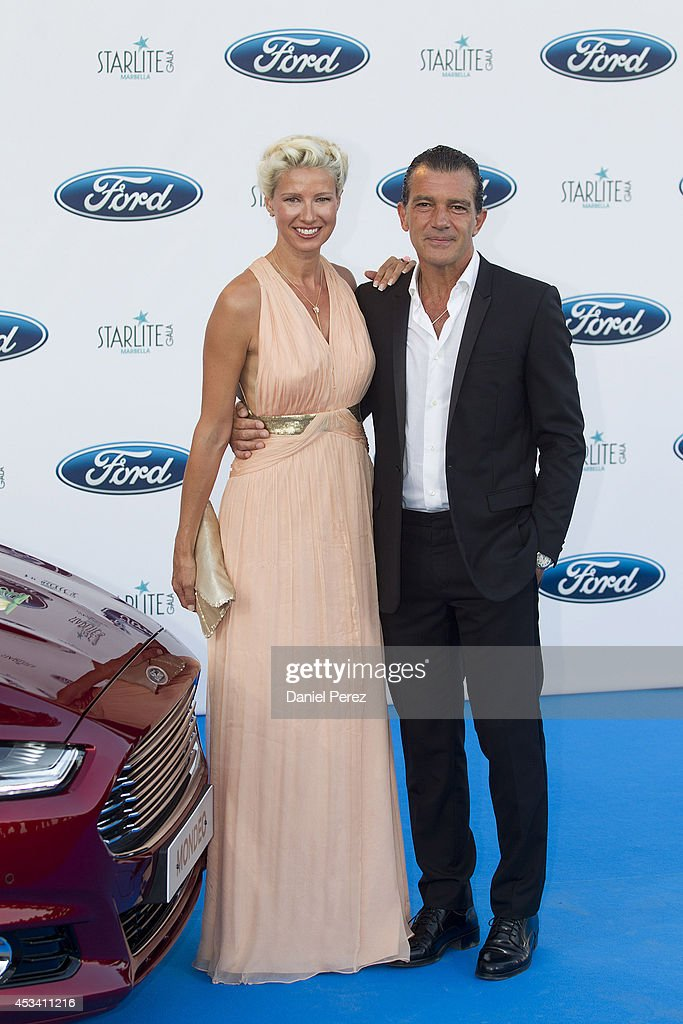 Anne Igartiburu and Antonio Banderas attend the 5th annual Starlite Charity Gala on August 09, 2014 in Marbella, Spain.