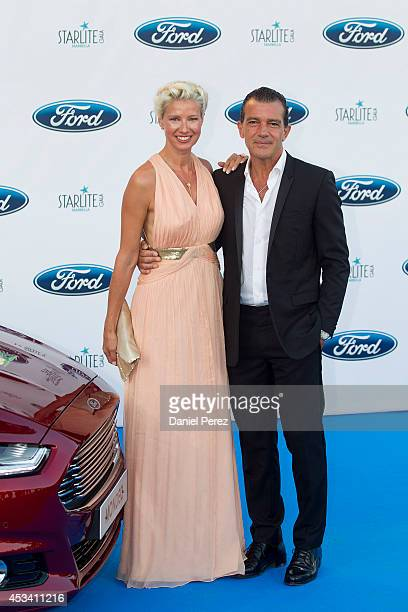 Anne Igartiburu and Antonio Banderas attend the 5th annual Starlite Charity Gala on August 09 2014 in Marbella Spain