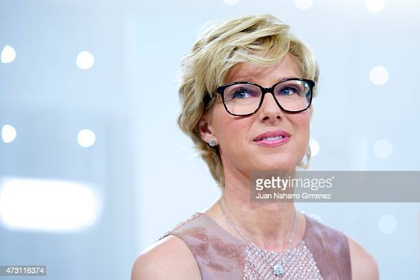 Anne Igartiburu attends a press conference before Eurovision Gala at Torrespana on May 13 2015 in Madrid Spain