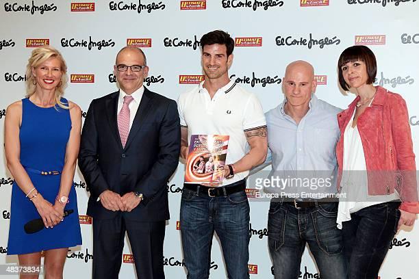 Anne Igartiburu poses with Nacho Villalba and Aitor Ocio as they present their new book 'Entrenamiento Personalizado y Alimentacion' at El Corte...