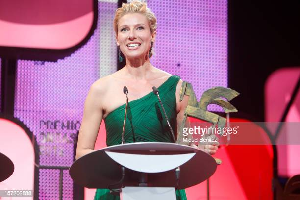 Anne Igartiburu receives an Ondas at the 59th Ondas Awards 2012 at the Gran Teatre del Liceu on November 29 2012 in Barcelona Spain