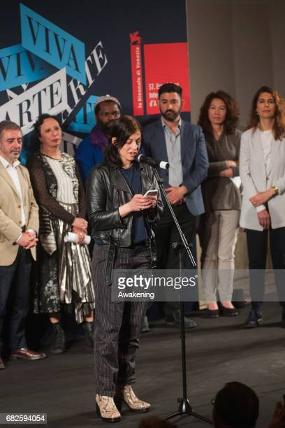 Anne Imhof, representing the German pavilion, speaks after receiving the Golden Lion for Best National Participation during the Opening Ceremony of...